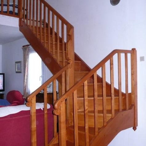 escalier en hêtre quartier tournant
